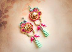 Soutache tassel Boho earrings #CustomizedEarrings #TasselEarrings #summer #ColorfulEarrings #jewelry #HandmadeEarrings #gft #SoutacheEarrings #earrings #Soutache Custom Earrings, Lace Earrings, Small Earrings, Statement Earrings, Earrings Handmade, Handmade Jewelry, Stud Earrings, Silver Earrings, Soutache Bracelet