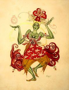 """Costume design for Karsavina in a title role of """"L'Oiseau de Feu"""""""