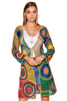 Metallic Medallion Crochet Sweater | Boston Proper