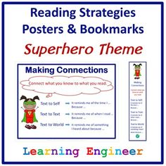 Reading Strategies Posters & Bookmarks - Superhero Theme -