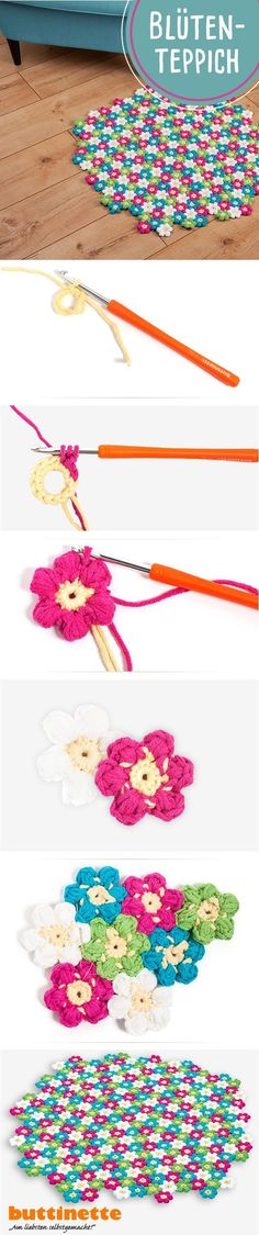 # flower # carpet # crochet - All About Easy Blanket Knitting Patterns, Crochet Flowers, Fabric Flowers, Carpet Crochet, Flower Carpet, Carpet Diy, Fleurs Diy, How To Start Knitting, Baby Outfits