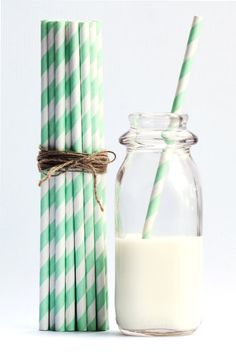 Mint Green Striped Paper Straws Set of 25  by SmashCakeStudio, $4.50 I have been looking for these, they can go right into the compost!