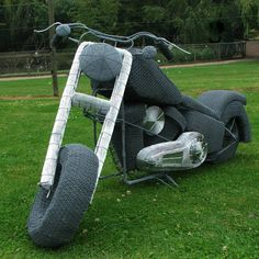 fdcf30a61a9 Size representation of a Harley Davidson. Hand crafted from Galvanised wire  mesh and airbrushed with Zinc