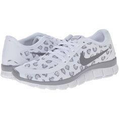Nike Free 5.0 V4 (White/Pure Platinum/Wolf Grey) Women's Shoes ($45) ❤ liked on Polyvore featuring shoes, athletic shoes, white, training shoes, white shoes, nike footwear, gray shoes and low top
