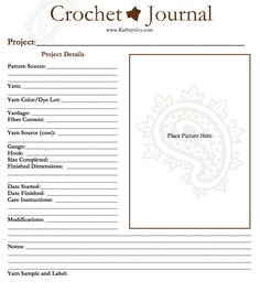 Crochet Journal PDF Template by Kathryn Ivy (so need to do this, I have 5 different sox I've crocheted in 5 different hook sizes! - Ricochet Crochet)