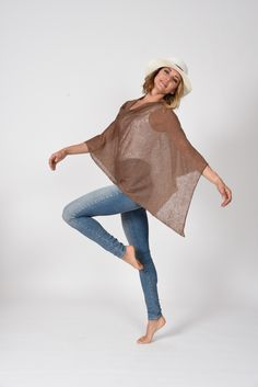 Linen Poncho This 100% linen poncho / dress topper is THE SOLUTION to so many of our spring and summertime wardrobe needs. It is slightly transparent and covers the upper arm area without over heating. Hands free and nice to drape. Whether worn casually or for an occasion...IT IS PERFECT! 100% (almost) wrinkle free linen Made in Italy Poncho Dress, Cashmere Poncho, Summertime, Arm, Bell Sleeve Top, Italy, Hands, Nice, Spring