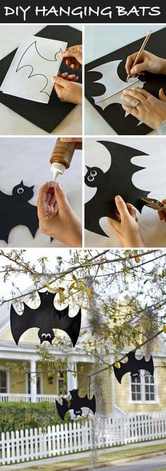 Hanging bats for Halloween. Super great craft idea for your garden /// Hängende Fledermäuse zum Selbstbasteln. Tolle Idee für den Vorgarten!