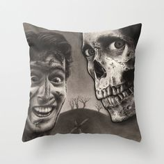 Evil Dead 2 - ASH and Skull | Black & Gray Graphite Drawing Art Pillow Cover - with or without pillow on Etsy, $30.00