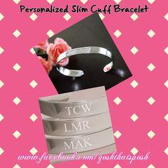Personalized Cuff $24.00 www.thebudgetfind.com #cuff #personalized #silver #gift #wedding #bridesmaids #style
