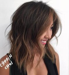 Messy Brown Balayage Lob