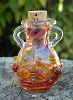 Super Cool Silver Creek Blown Stash Jar or Oil by amyneonlady, $18.00