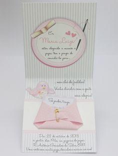 Acima de 50 convites - R$ 5,00 e tag de convidados gratis  Convite Chá de Fraldas Passarinho  Convite delicado e romântico, perfeito para o chá de fraldas de uma menina.    Para o fechamento do convite, cinta em fita de gorgurão rosa, com laço chanel, com tag com o nome do bebê em 3 camadas e det...