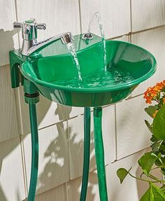 Keep the mess outside by washing your hands in the Outdoor 2-in-1 Water Fountain Faucet. This outdoor faucet is easy to install and makes cleaning up outdoors easy. It attaches to most garden spigots and has an adjustable water stream. Also works as a drinking fountain.