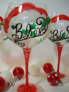 Christmas Wine  Glasses  Santa