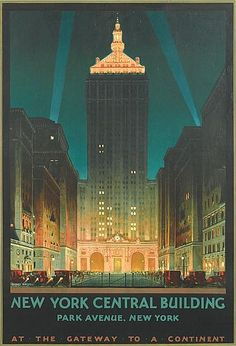 New York Central Building, 1930, Chesley Bonestell, oil on posterboard, 46 3/4 x 30 in., for New York Central Railroad, painting gift to Albany Institute of History and Art in 1959, vintage poster size was 39 x 26 in., USA. One of Bonestell's last commissions in New York prior to returning to San Francisco. Bonestell became famous for his Space Age paintings 1944 onwards with the depiction of Saturn from the moon in LIFE magazine and rocketry pictures in 1946.