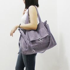 MAY Sale  GRAY Canvas Women Double Straps Shoulder Bag by Kinies, $45.00