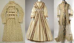 A British dressing gown circa 1830, an American wrapper circa 1860, and a French peignoir circa 1870.