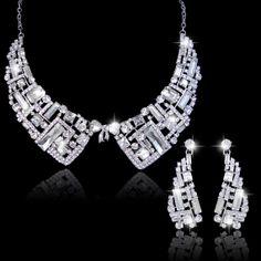 Art Deco Style Swarovski Crystal Collar by Voguejewelry4u on Etsy, $39.99