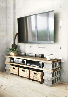 Cinder block entertainment shelving
