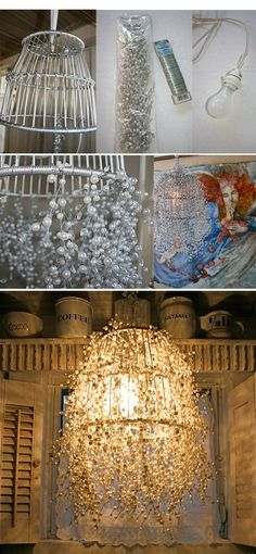 Creative diy chandelier lamp and lighting ideas 90 handmade home decor, diy Luminaria Diy, Diy Luminaire, Chandelier Lamp, Chandeliers, Wire Basket Chandelier, Wire Lampshade, Lampshade Ideas, Outdoor Chandelier, Diy Lamps