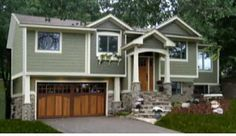 Split Foyer Front Porch Ideas Or On Front Porch Designs For Split Level Homes Images I - Trgn Ranch Exterior, House Paint Exterior, Exterior Remodel, Exterior Paint Colors, Exterior House Colors, Paint Colors For Home, Siding Colors, Exterior Design, Garage Exterior