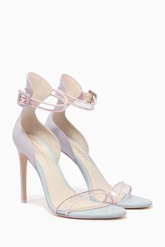 Shop Sophia Webster Blue Nicole Two-Tone Leather Plexi Sandals for Women Fancy Shoes, Pretty Shoes, Beautiful Shoes, Cute Shoes, Dr Shoes, Me Too Shoes, Shoes Heels, Aesthetic Shoes, Fashion Heels