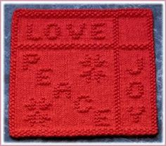 """""""Peace, Love and Joy"""" """"Holiday Window"""" """"Letter To Santa"""" Knit Dishcloth Pattern """"Peace, Love and Joy"""" """"Holiday Window"""" """"Letter To Santa"""" Knit Dishcloth Pattern History of Knitting Yarn spinning, weavi. Knitted Washcloth Patterns, Knitted Washcloths, Dishcloth Knitting Patterns, Crochet Dishcloths, Knitting Stitches, Knit Patterns, Free Knitting, Baby Knitting, Charity Knitting"""