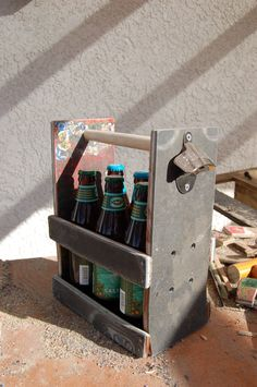 Beer Bottle Six Pack Holder With Bottle Opener;  Made of Skateboard Decks With Misfits grahic by WoodCore on Etsy