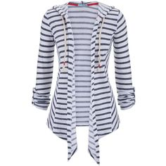 maurices Striped Open Front Cardigan With Hood And Rope Ties found on Polyvore