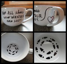 DIY Sharpie mug. I love this quote! Marker Crafts, Sharpie Crafts, Sharpie Markers, Diy Sharpie Mug, Sharpie Projects, Art Projects, Diy Arts And Crafts, Crafts To Do, Diy Becher