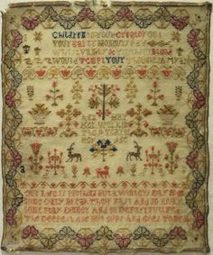 Ann Hay aged 10. Undated, but the style of stitch work would indicate this piece dates to somewhere between 1790 and 1800.