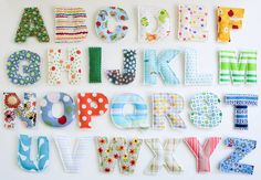 """This listing is for one set of padded toy alphabet letters. All cotton fabrics with batting sandwiched in the middle. Great for learning and fun for adults too! Hand cut. Letters measure approx. 3""""x3"""".   Each set may have varying patterns based on availability.  These letters are non-magnetic..."""