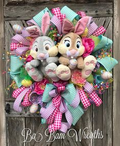 Easter Wreath, Spring Wreath, Bunny Wreath, Thumper Wreath, Spring Wreath, Deco Mesh Easter Wreath, Deluxe Easter Wreath Happy Easter to You! What a way to greet the season- our beloved characters from Bambi have made an appearance! Its Thumper & Miss Bunny! This wreath is lush and