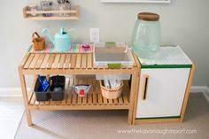 A DIY IKEA hack water basin for our Montessori home kitchen. A DIY IKEA hack water basin for our Montessori home kitchen. Ikea Montessori, Montessori Bedroom, Montessori Materials, Montessori Toddler Rooms, Organisation Ikea, Playroom Organization, Organization Station, Ikea Playroom, Ikea Kids