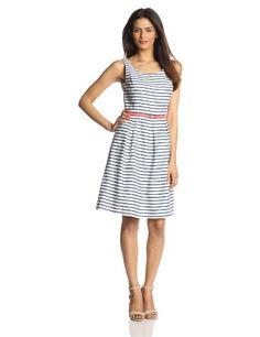 Jessica Howard Women's Sleeveless Belted Stripe Dress, White/Navy, 8 Jessica Howard http://www.amazon.com/dp/B00I0PXKVS/ref=cm_sw_r_pi_dp_4rgVtb1TRP8570S8