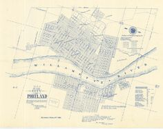 This is a nifty map of Portland from the very early days. East Portland was a separate city until 1891 when Portland and East Portland consolidated. (City of Portland Archives) Portland Map, City Grid, Thing 1, Maputo, Vintage Maps, Historical Maps, Cartography, Past, How To Draw Hands