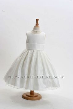 Girls Dress Style 5378-BUILD YOUR OWN DRESS! White or Ivory Dress with Choice of 83 Sash Options! $49.99