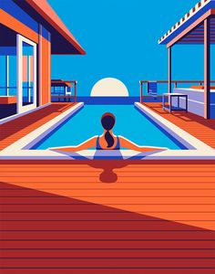 """Illustrations for Kuoni by Malika Favre """"Series of travel illustrations for Kuoni France 2016 brochure, art direction by Altavia."""" Malika Favre is a French artist based in London. Her bold, minimal style – often described as Pop Art meets OpArt – is. Art And Illustration, Illustrations And Posters, Graphic Design Illustration, Graphic Art, Creative Illustration, Magazine Illustration, Art Posters, Poster Prints, Arte Pop"""