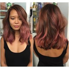 I like this color, if I want to go with a more muted tone. ~ dark rose gold balayage - Google Search