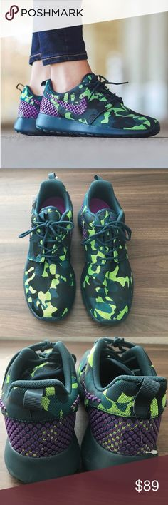 Nike Rosche One Premium Trainers New• Nike Rosche One Premium Plus Trainers•mid Teal/purple Camo• new condition • lightweight • on trend• excellent new condition  • no trades •reasonable offers welcomed  • bundle for free shipping & discount Nike Shoes Sneakers
