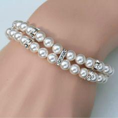 Roxy's Jewelry - Double Strand Pearl Bracelet, $74.00 (http://www.roxysjewelry.com/wedding-jewelry/double-strand-pearl-bracelet/)