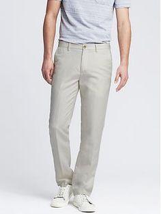 Banana Republic Kentfield Tranisition Cream Slim Linen Cotton Pant