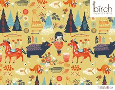 Village Feast is part of the Beautifully cute Wildland Collection from Birch Organic fabrics. Organic Cotton and super cute. Fabric is available to buy in Surface Pattern, Surface Design, Fabric Patterns, Print Patterns, Sewing Patterns, Zentangle, Horse Fabric, Stoff Design, Pattern Illustration
