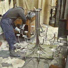 Finishing up another hand made chandelier in the forge today! #nigeltyas #lighting #design #blacksmith