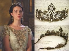 """In the episode (""""Three Queens, Two Tigers"""") Queen Mary wears this Rabbitwood & Reason Antiqued Filigree Renaissance Tiara .Worn with a Marchesa gown, Philippa Kunisch earrings.Thanks farfarawaysite for the HQ still! Reign Mary, Mary Queen Of Scots, Queen Mary, Queen Elizabeth, Reign Fashion, Fashion Tv, Mary Stuart, Isabel Tudor, Reign Tv Show"""