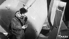 Edwin Hubble Changed Our Ideas About the Universe and Its Birth  Edwin Hubble looks through a guidescope of the 1.2 meter telescope at the Palomar Observatory in California.