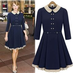 USD18.49Fashion Turndown Collar Three Quarter Waist Navy Blue Knee Length Dress... I love the lace on bottom. I'm having to do this with some of my dresses to add length.