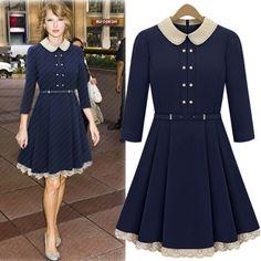 USD18.49Fashion Turndown Collar Three Quarter Waist Navy Blue Knee Length Dress