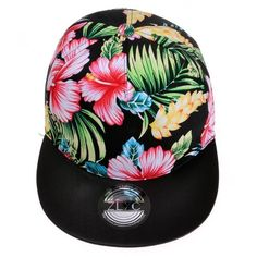ZLYC Women's 2015 Flatbill Visor Snapback Baseball Hat Floral Print... ($11) ❤ liked on Polyvore featuring accessories, hats, visor hats, black baseball hat, snap back hats, black baseball cap and sun visor