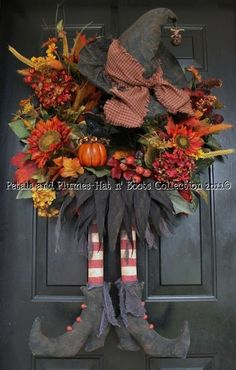 Fall harvest witch. Halloween Wreaths at ModVintageLife.com